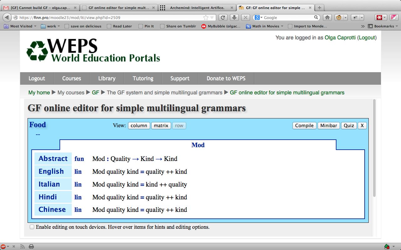 Working on an online course in GF | Multilingual Online Translation
